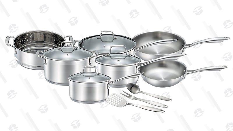Juego de sartenes Chef Star de 14 piezas | $135 | AmazonGráfico: Shep McAllister