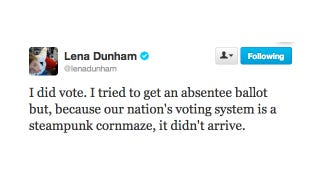 """Illustration for article titled Lena Dunham Confirms: """"I Did Vote"""""""