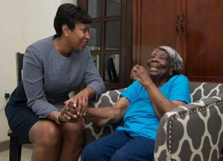 Washington, D.C., Mayor Muriel E. Bowser with Virginia McLaurin, who now has access to a government photo IDTwitter