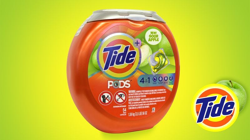 Illustration for article titled Tide Debuts New Sour Apple Detergent Pods