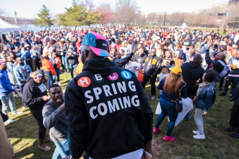 Revelers at the HBCU SpringComing on April 21, 2018, in Harlem.