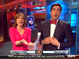 Illustration for article titled Today In SportsCenter Fashion: Hannah's Demure, But What Is That On Josh Elliott's Neck?