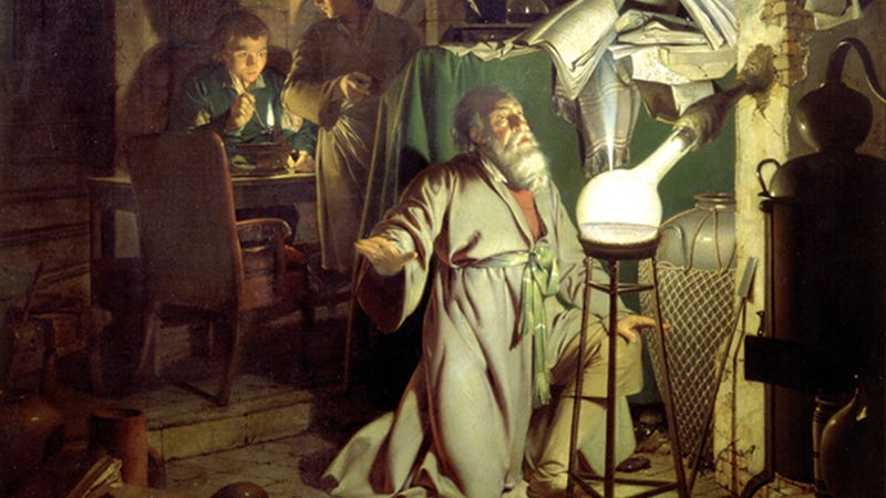 Image: Joseph Wright of Derby, The Alchemist Discovering Phosphorus (1771)