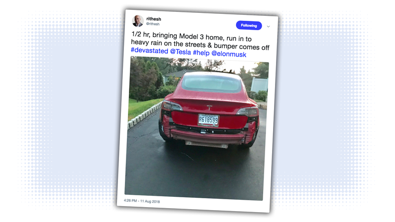 Illustration for article titled Bumper Falls Off Brand New Tesla Model 3 After 30 Minutes and Some Rain (Updated)