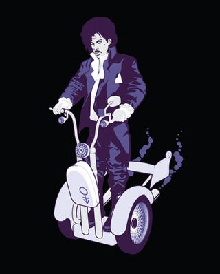 Illustration for article titled Prince on a Segway T-Shirt Combines Two Good Things to Make a Great Thing