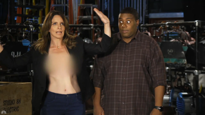 Illustration for article titled Tina Fey Is Shirtless and Surefire in Her SNL Promos