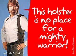 Illustration for article titled iPhone Shoulder Holster Is Chuck Norris' Favorite Fashion Accessory