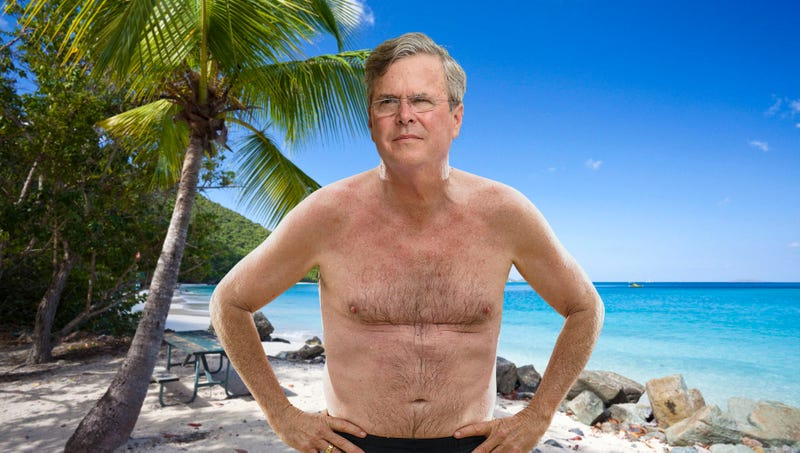 Illustration for article titled Awkward: Jeb Bush Just Showed Up To Richard Branson's Private Island In His Swim Trunks And Asked If He Could Hang Out With Him Like Barack Obama Did