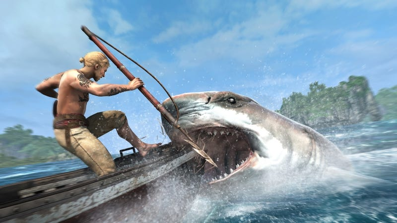 Illustration for article titled Oh My God, Look at This Enormous Shark in Assassin's Creed IV