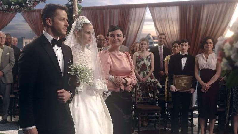 Emma Swan (Jennifer Morrison) gets married the Storybrooke Way, which means in front of a CGI sunset.