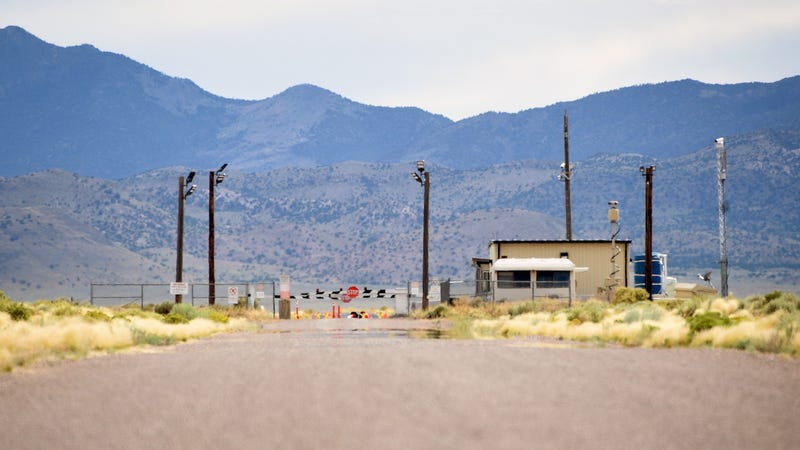 The back gate is seen at the top-secret military installation at the Nevada Test and Training Range on July 22, 2019