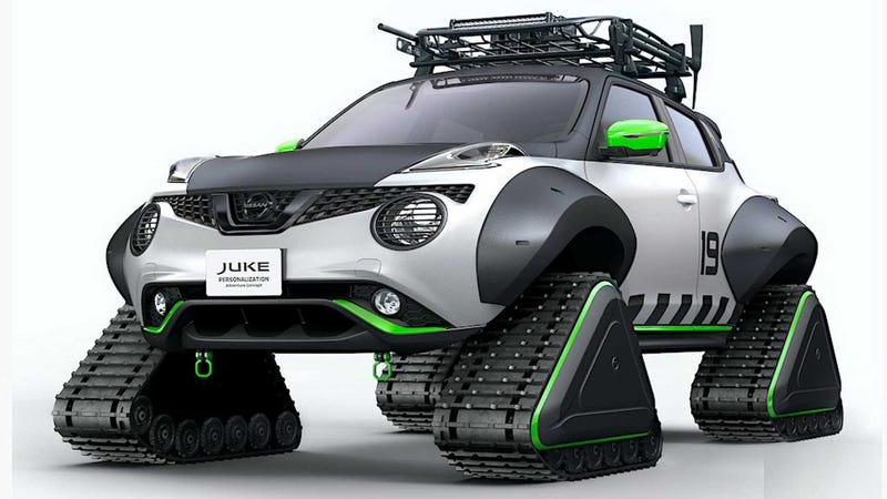 Illustration for article titled Another Nissan Juke Has Been Assailed By Tracks Instead Of Wheels Disease