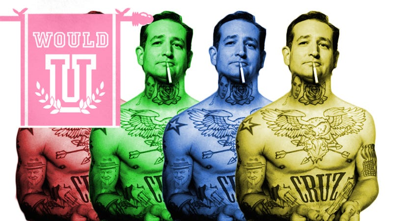Illustration for article titled Would You Have Sex With the Cool and Tough Ted Cruz In This Poster For Sale on His Website?