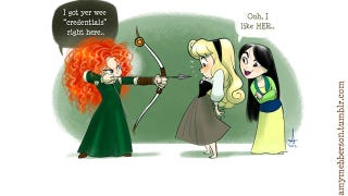 Illustration for article titled Disney princesses don't always get along in these adorable comics