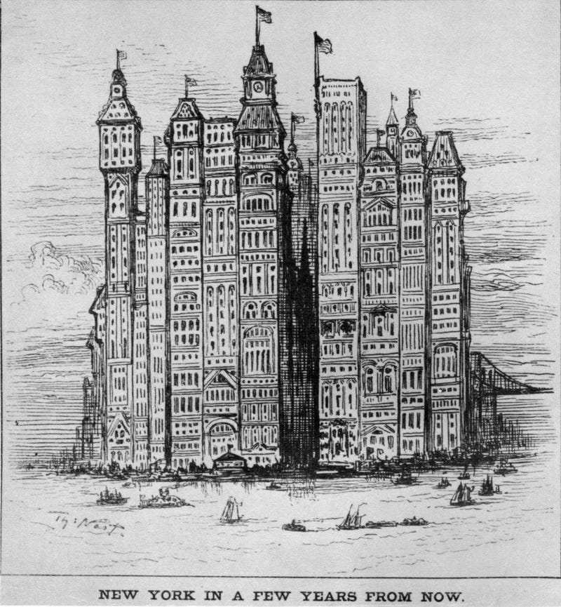 Illustration for article titled New York's tallest building of the future (1881)