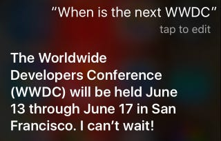 Illustration for article titled Siri Says Apple's WWDC 2016 Begins on June 13
