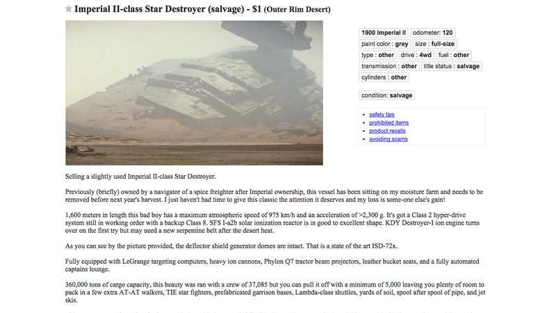 Illustration for article titled Used Star Destroyers from The Force Awakens teaser are available on Craigslist