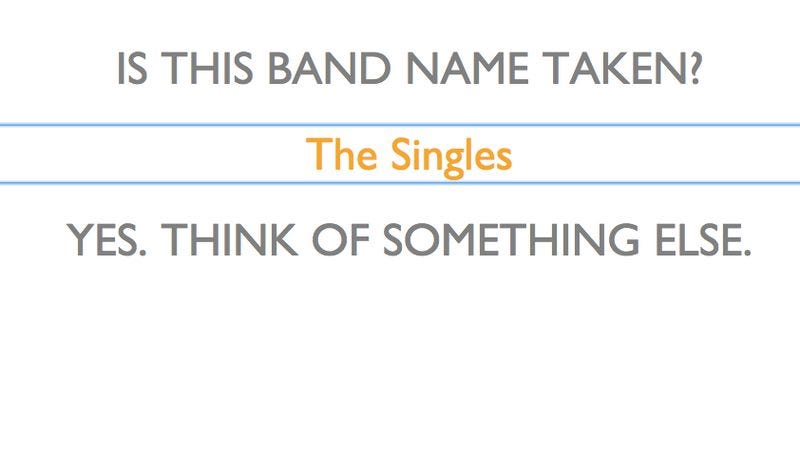 Illustration for article titled Website answers one dumb question: Is This Band Name Taken?
