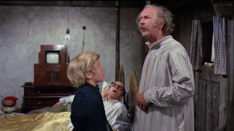 "Charlie and Uncle Joe during ""I've Got A Golden Ticket"" (Screenshot: YouTube)"
