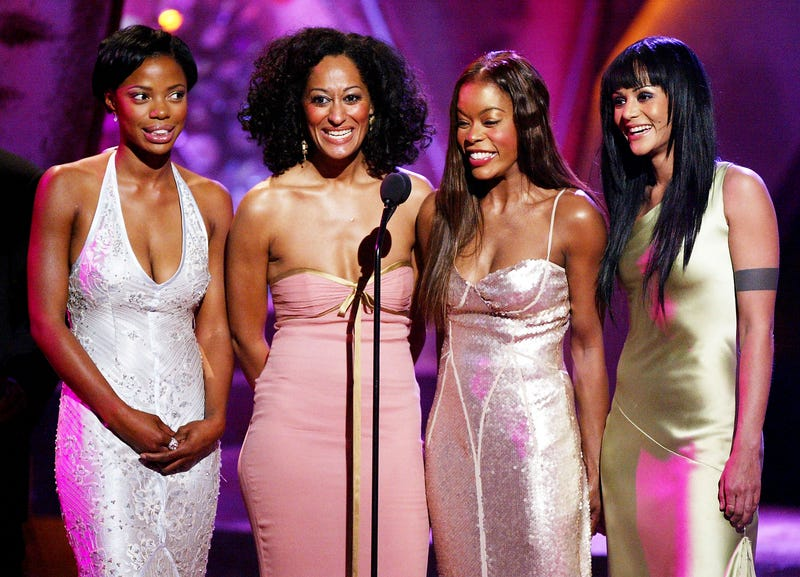 Jill Marie Jones, Tracee Ellis Ross, Golden Brooks and Persia White onstage at the 35th Annual NAACP Image Awards at the Universal Amphitheatre on March 6, 2004, in Los AngelesKevin Winter/Getty Images
