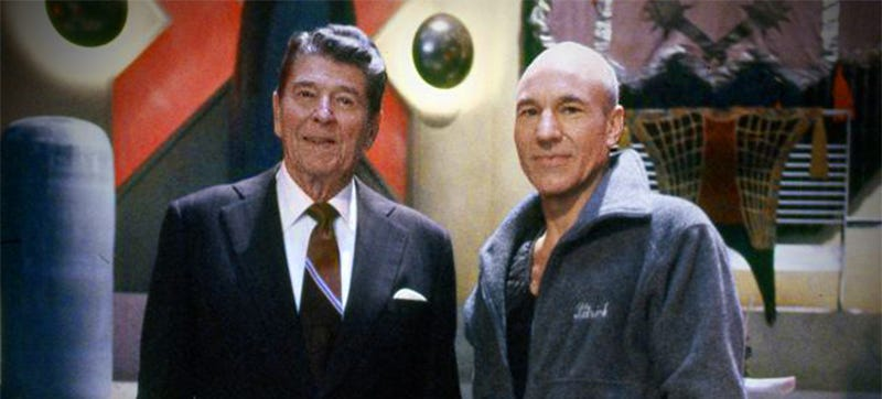 That Time Ronald Reagan Visited Star Trek: The Next Generation And Took The Captain's Chair
