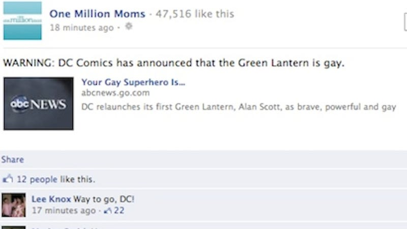 Illustration for article titled One Million Moms Deletes Homophobic Facebook Post After Most Comments Are Pro-Gay