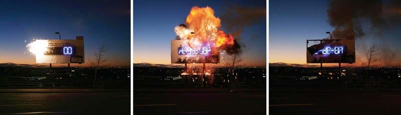 Illustration for article titled Exploding Billboard Advertises by Destroying Advertisement