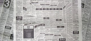 Illustration for article titled This Clever Newspaper Ad Hides a 3D Kitchen in the Classifieds