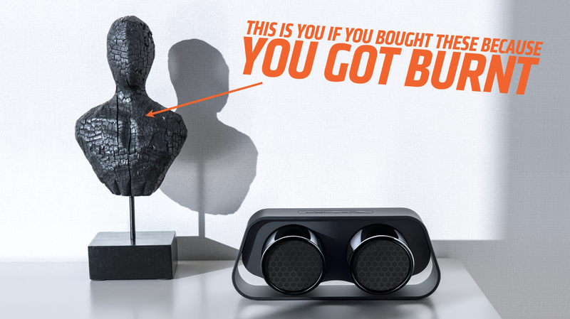 Illustration for article titled Hey Dumbasses, Spend Way Too Much On These Speakers That Sort Of Look Like Porsche 911 Exhaust Pipes