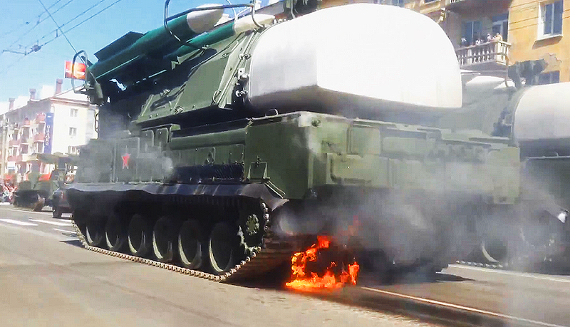 "Illustration for article titled SA-11 ""Buk"" Missile System Catches Fire During Victory Day Parade"