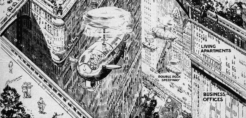 Excerpt from a 1923 illustration showing the American city of the future (Science and Invention/Novak Archive)