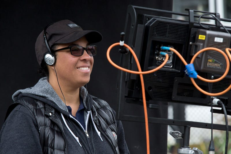 Writer-director Angela Robinson on the set of Professor Marston and the Wonder Women (Claire Folger/Annapurna Pictures)