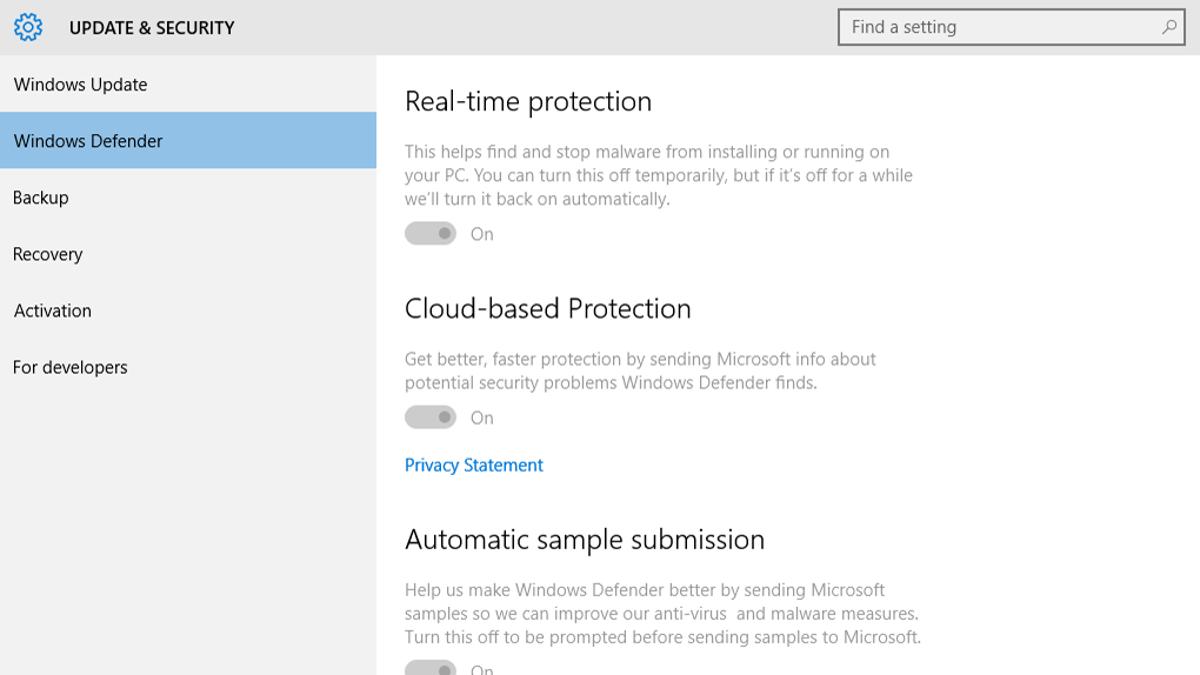 windows defender antivirus for windows 10 pro