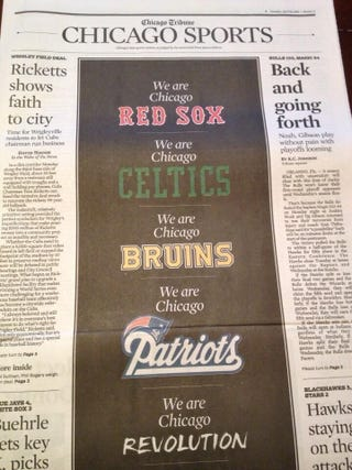 Illustration for article titled Chicago Tribune Sports Page Pays Tribute To Boston