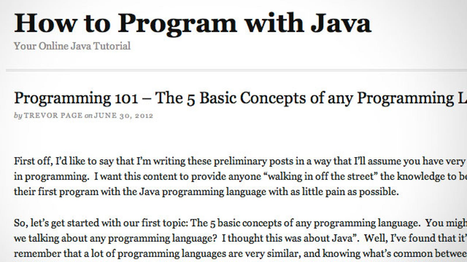 How to Program With Java Teaches You the Basic Concepts of