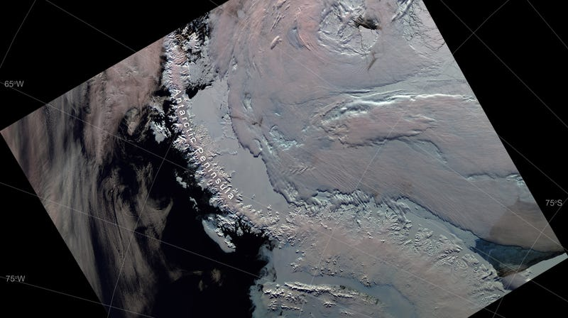 A glimpse of the Antarctic Peninsula reconstructed from Copernicus Sentinel satellite data.
