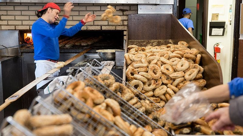 Bagel production from St-Viateur Bagel in Montreal (Photo: Thierry Tronnel/Corbis/Getty Images)