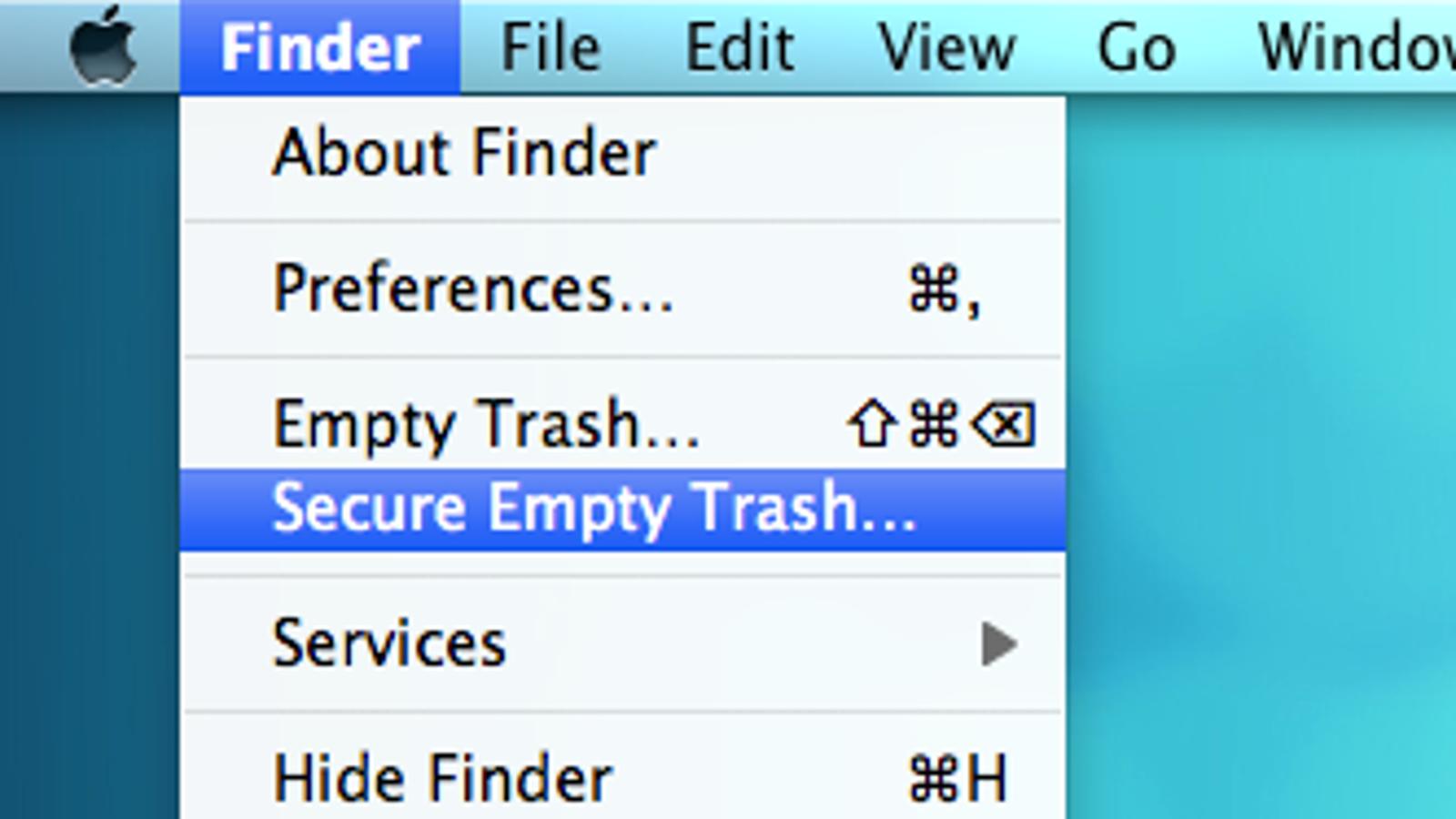 os x force empty trash