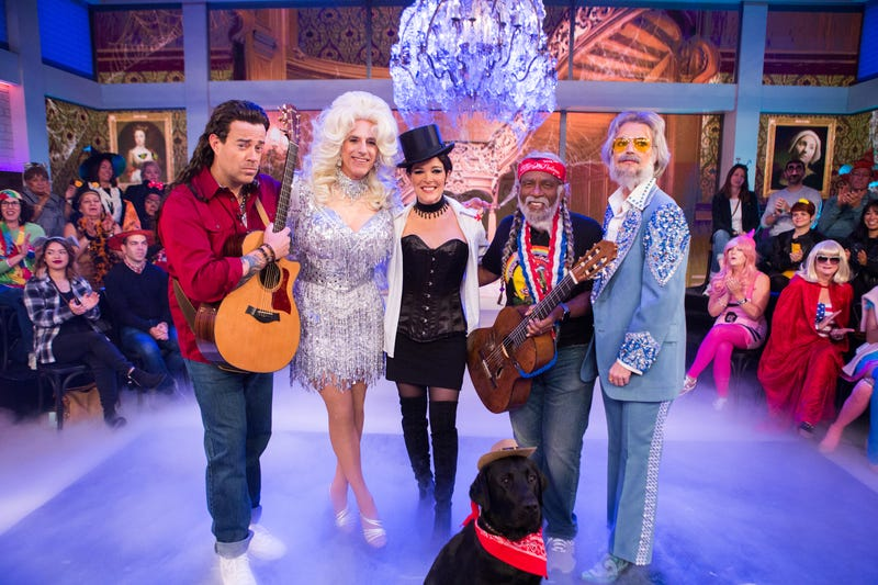 Carson Daly as Billy Ray Cyrus, Matt Lauer as Dolly Parton, Megyn Kelly as Shania Twain, Al Roker as Willie Nelson and Savannah Guthrie as Kenny Rogers (Nathan Congleton/NBC/NBCU Photo Bank via Getty Images)