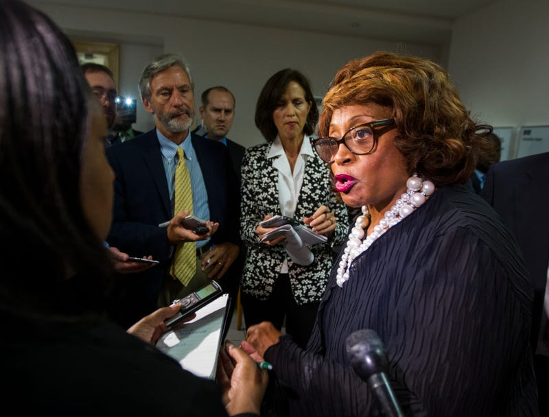 Former Rep. Corrine Brown (D-Fla.) talks with the press in Tallahassee, Fla., in August 2015. (Mark Wallheiser/AP Photo/File)