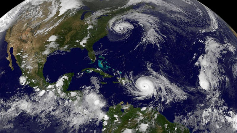 Hurricane Maria (lower) and Hurricane Jose (above). (NASA/NOAA GOES Project)