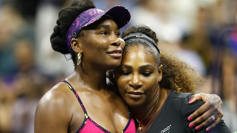 Serena Williams is congratulated by her sister and opponent Venus Williams of The United States following their ladies singles third round match on Day Five of the 2018 US Open on August 31, 2018 in Queens, New York.
