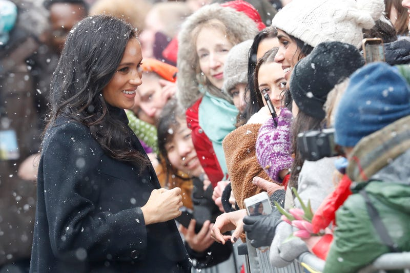 Meghan, Duchess of Sussex meets the crowd as they arrive at the Bristol Old Vic on February 01, 2019 in Bristol, England. The Duke and Duchess will tour the recently renovated facility, finding out more about the theatre's unique history and links to the local community.