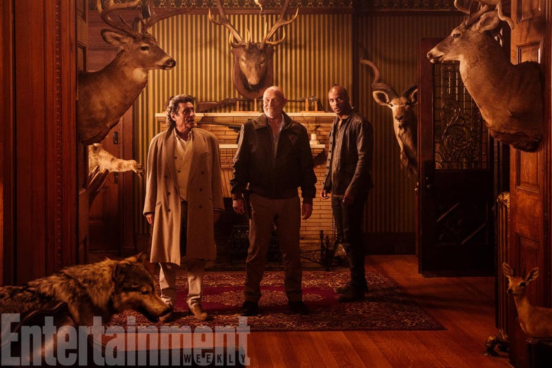 Image: Ian McShane as Mr. Wednesday, Corbin Bernsen as Vulcan, and Ricky Whittle as Shadow Moon in American Gods, Starz via Entertainment Weekly