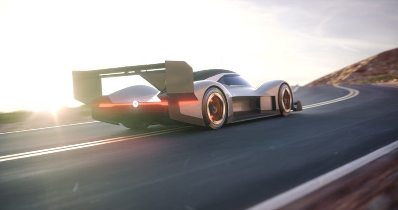Illustration for article titled Volkswagen's All-Electric Pikes Peak Race Car Looks Like Something From Our Terrifying Sci-Fi Future