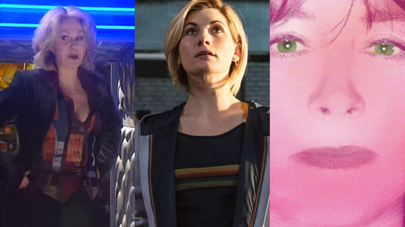 Jodie Whittaker's 13th Doctor, flanked by two very peculiar, non-canon predecessors.