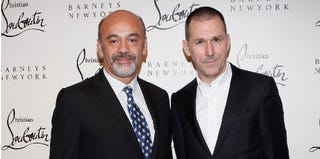 Designer Christian Louboutin and CEO of Barneys New York Mark Lee (Cindy Ord/Getty Images)