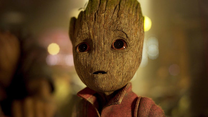 The very adorable Baby Groot, not to be confused with his predecessor Groot, looking at something off-camera in Guardians of the Galaxy Vol. 2.