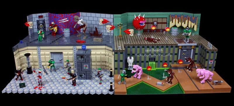 Illustration for article titled Doom looks perfectly pixelated in Lego form