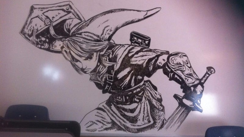 School janitor wins internet with amazing zelda drawings for Stuff to draw on a whiteboard